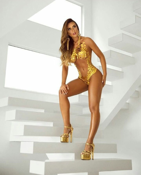 30.out.2017 - Com o corpo coberto apenas por fitas adesivas douradas, Nicole Bahls fez os fãs babarem na foto de um ensaio sensual compartilhada pelo fotógrafo Davi Borges.