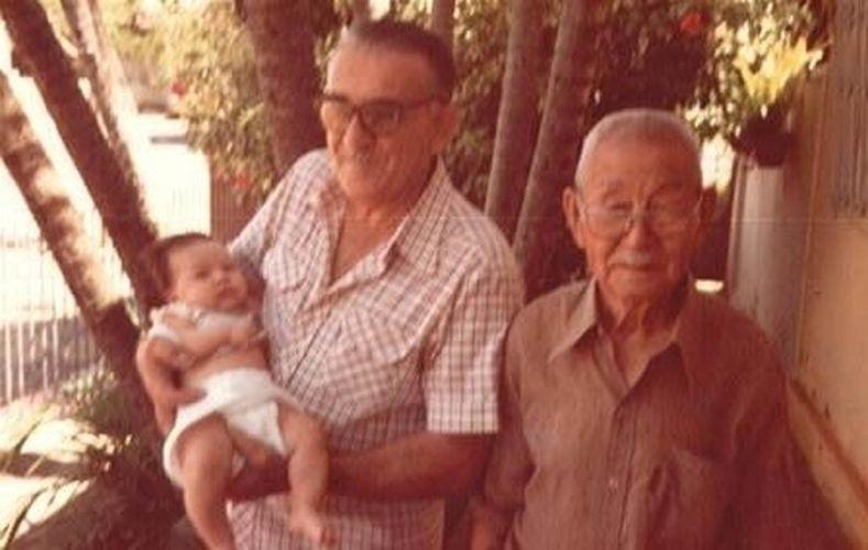 1981 - Sabrina com o avô Kemil Rahal e o bisavô Shiguezo Serizawa, em Penápolis