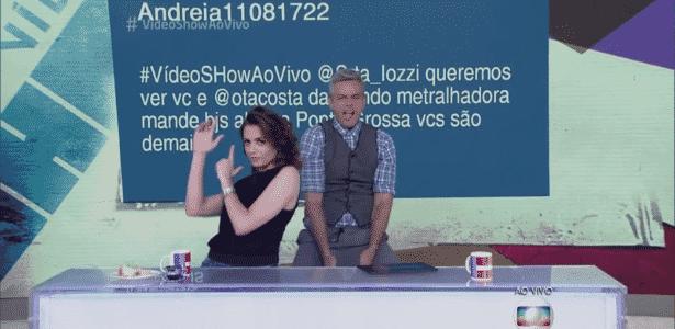 """Monica Iozzi e Otaviano Costa no programa """"Video Show"""", em 2016 - Reprodução/TV Globo"""