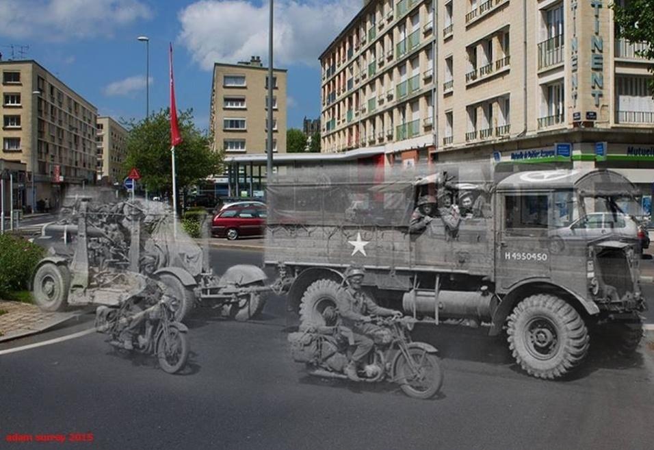 24.nov.2015 - Um caminhão foi clicado puxando uma arma antiaérea em Caen, na França. A foto antiga é de 1944