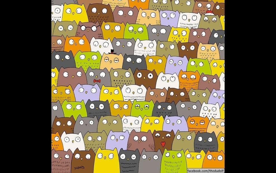 """24.dez.2015 - O desenhista húngaro Dudolf está se especializando em criar desafios com suas ilustrações. Dessa vez, Dudolf desafia as pessoas a encontrarem um gatinho em meio a uma dezena de corujas. Postado no Facebook no último domingo, onde o desenhista tem mais de 60 mil seguidores, o desenho deixou diversas pessoas curiosas, enquanto internautas brincavam nos comentários. """"Fácil. O gato está ao lado da coruja"""", escreveu um deles. """"Todos se parecem"""", comentou outra internauta. E aí? Já achou o gatinho? Se estiver difícil, clique na próxima imagem e confira onde está o bichano"""