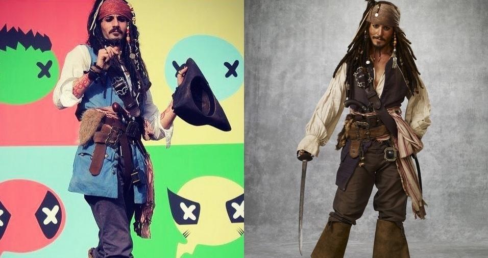 """1. Jack Sparrow (Johnny Depp) - Attilio Di Vittori é ator italiano e sósia profissional de Jack Sparrow, personagem interpretado por Johnny Depp nos filmes """"Piratas do Caribe"""". O rapaz participa de eventos a caráter e faz trabalhos como modelo"""