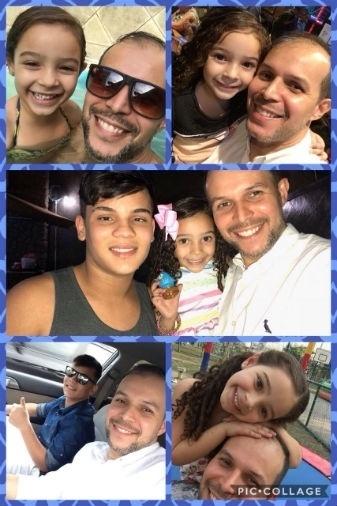 Carlos Eduardo Santos Souza, do Rio de Janeiro (RJ), com os filhos Enzo (13 anos) e Sophia (4)