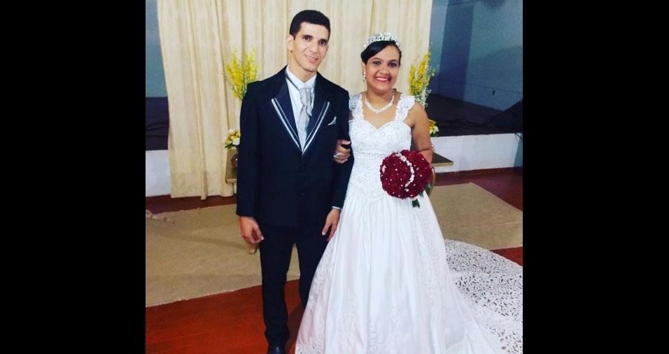 """Os noivos Kelson Rodrigues Rocha e Nilze Silva de Souza Rocha se casaram em 21 de maio de 2016, na Paroquia do Sagrado Coração de Jesus, em Maraba (PA): """"Foi tudo mágico, um grande dia, uma grande bênção"""""""