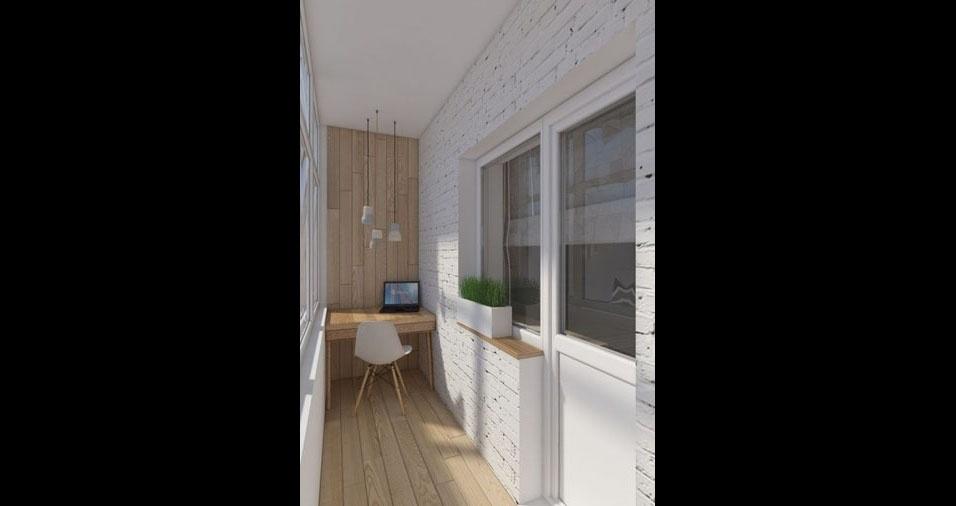 15. A madeira no chão e na parede deixa o ambiente da pequena varanda-escritório mais aconchegante