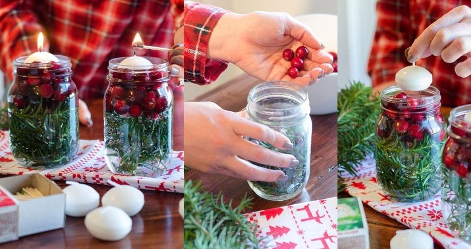 5. Crie luminárias com velas flutuantes e reciclando potes de vidro