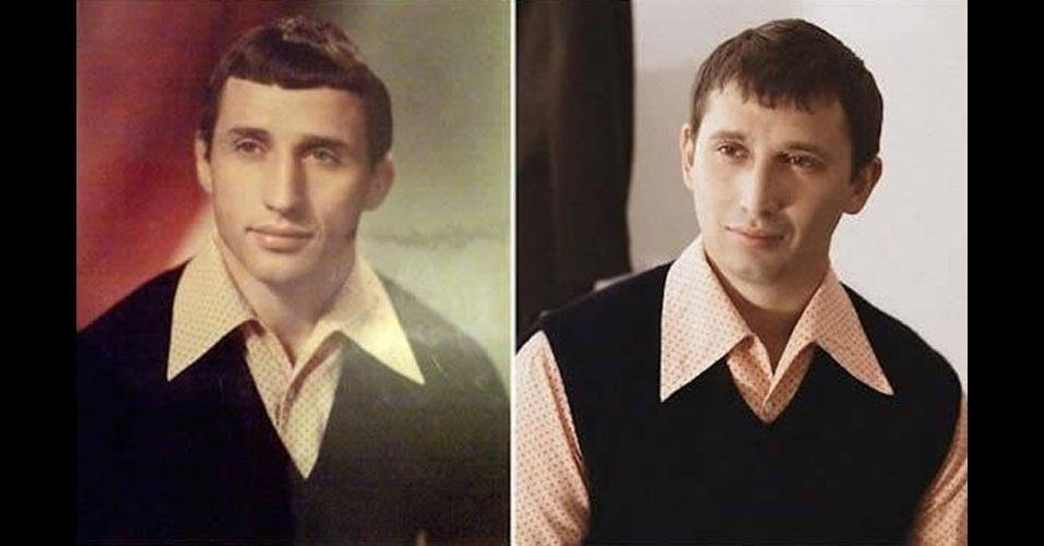 4. Pai à esquerda e filho, com a mesma camisa, à direita