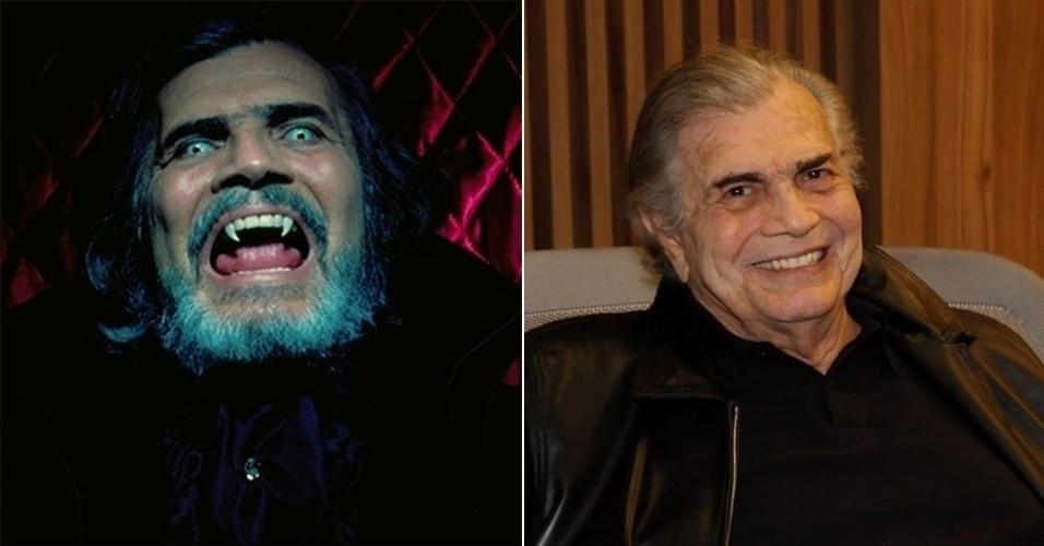 """5.set.2015 - Em """"O Beijo do Vampiro"""", de 2002, Tarcísio Meira encarnou o vampirão Bóris Vladescu. A caracterização do personagem era pesada e dava um certo medo"""