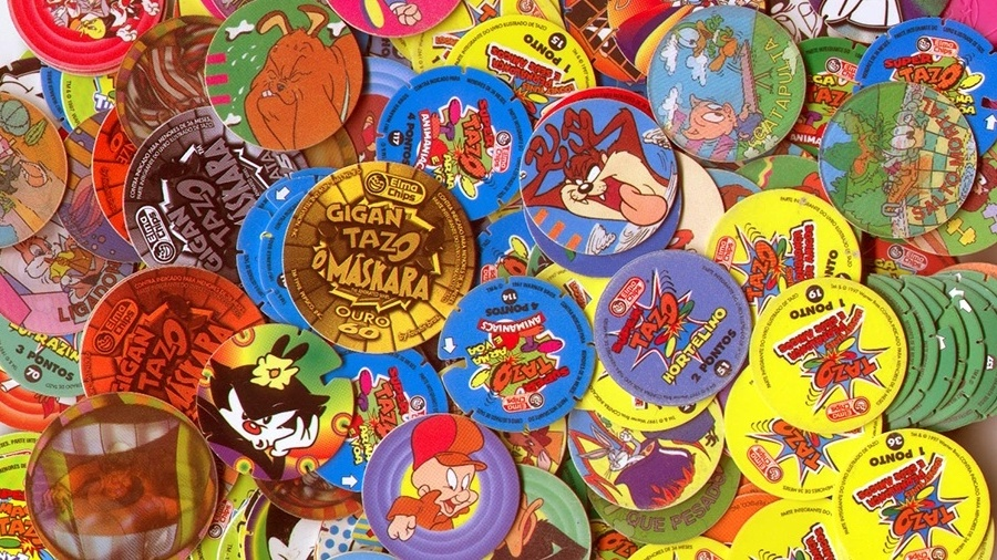 """Logo no início do ano começou a febre da """"Tazo Mania"""", a promoção dos pequenos discos colecionáveis que vinham nos salgadinhos da Elma Chips - Divulgação"""