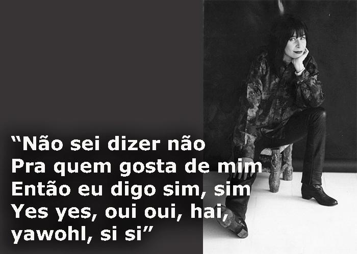 """Trecho da música """"Benzadeusa"""", de 1993; foto da cantora em São Paulo (SP), em agosto de 1985"""