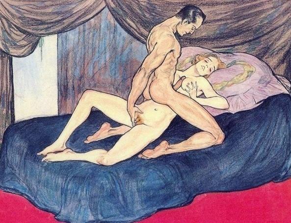 29.mar.2016 - A curadoria de arte erótica vintage mostra desenhos antigos de sexo