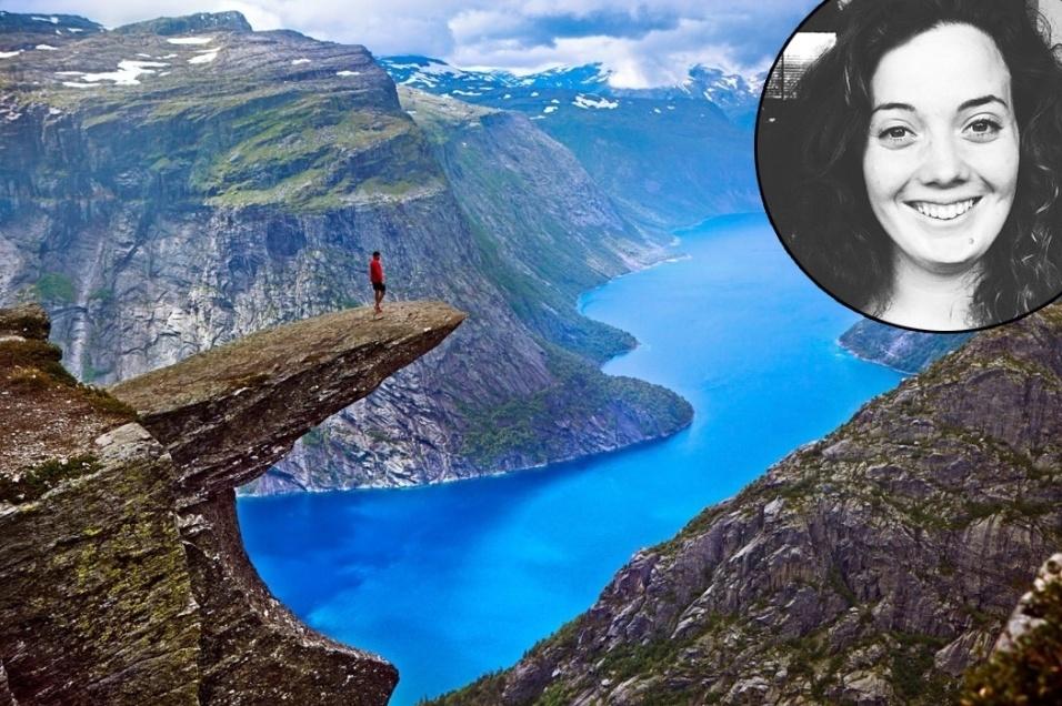 10.set.2015 - Uma aluna de intercâmbio australiana de 24 anos morreu ao cair de um ponto turístico a 700 metros de altura na Noruega. Kristi Kafcaloudis tentava fazer uma foto e perdeu o equilíbrio na Trolltunga (ou Língua do Troll), que exibe uma rocha que se projeta para fora da montanha, acima do lago Ringedalsvatnet. Kristi começou a estudar em uma universidade na Noruega no mês passado. O acidente aconteceu no último sábado, quando ela e outros dois amigos fizeram a trilha até a pedra. Após a queda, os amigos tentaram contatar serviços de emergência, mas tiveram problemas de sinal de celular. O corpo foi recuperado apenas no domingo, e equipes de resgate levaram horas para localizá-lo.