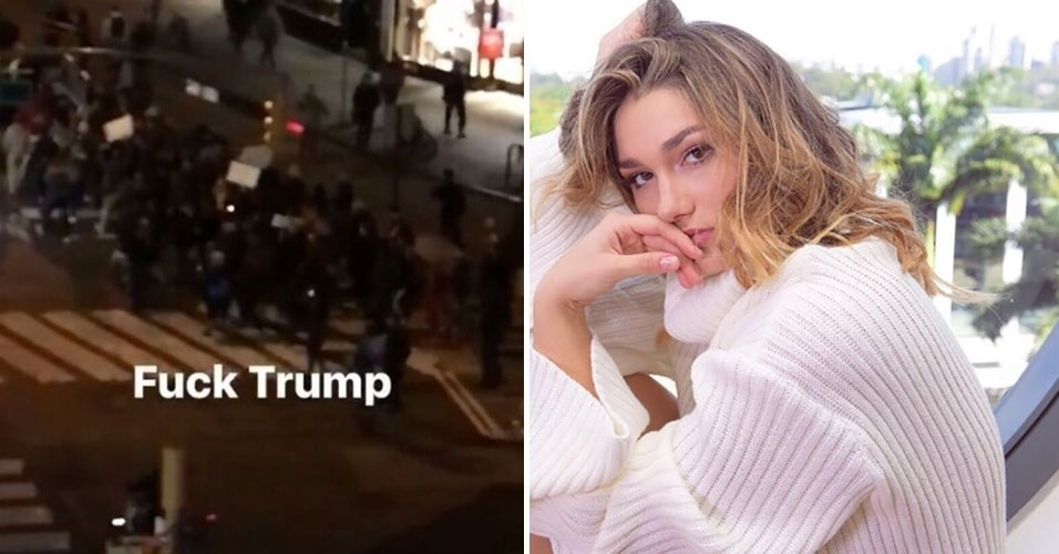 """11.nov.2016 - Sasha Meneghel mostrou sua insatisfação com o resultado das eleições nos Estados Unidos. Em postagem feita nas redes sociais, a filha de Xuxa e Luciano Szafir publicou um vídeo de manifestantes no centro de Nova York com os dizeres """"Fuck Trump"""", traduzindo """"F*da-se Trump"""""""