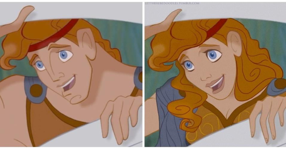 6.jan.2016 - Os longos cabelos loiros de Hércules são preservados na versão feminina do herói