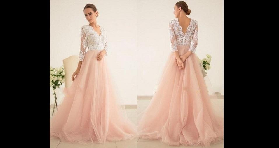 7. Uma outra opção é combinar o rosa com o clássico branco. Um vestido com apenas a saia na cor rosa cai super bem para a grande noite