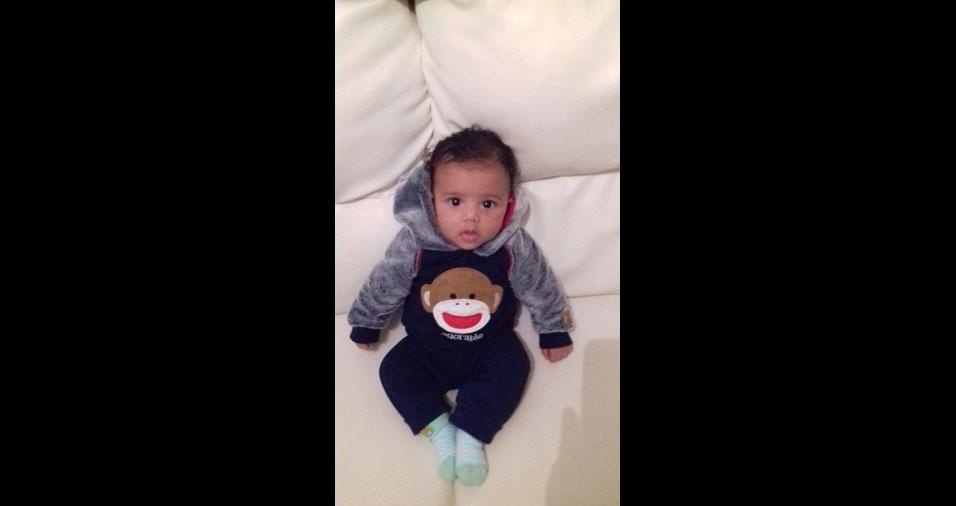 Lucas Diego e Alessandra Cristina enviaram foto do filho Edgar, de três meses. Eles moram em Três Rios (RJ)