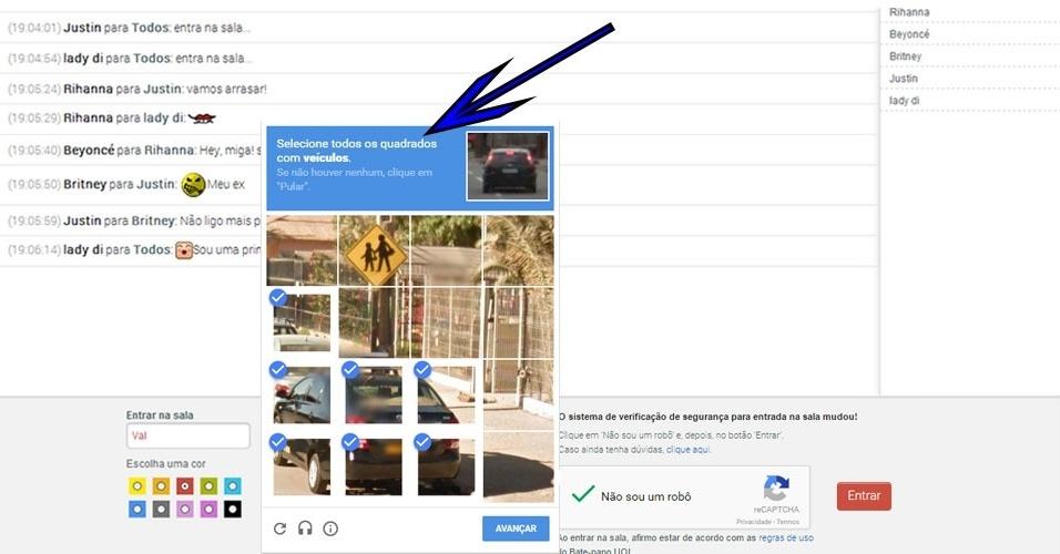 Acesso - A verificação de segurança serve para impedir a entrada de spammers. Caso o sistema ainda esteja em dúvida de que você realmente é um usuário, aparecerá uma nova janelinha com instruções para você responder a um desafio. Por exemplo, no desafio da imagem, o internauta precisa clicar em todos os quadradinhos que contêm a imagem de automóveis.