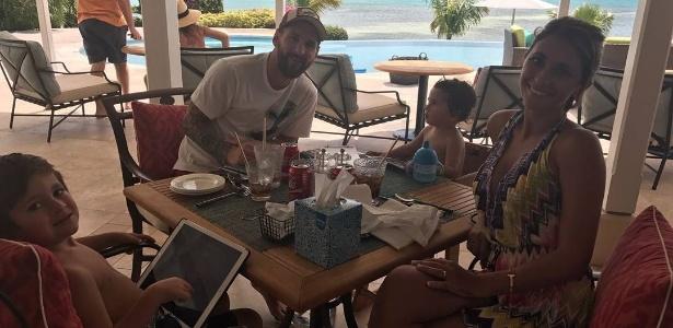 Messi e sua família: os filhos Thiago e Mateo e a mulher Antonella