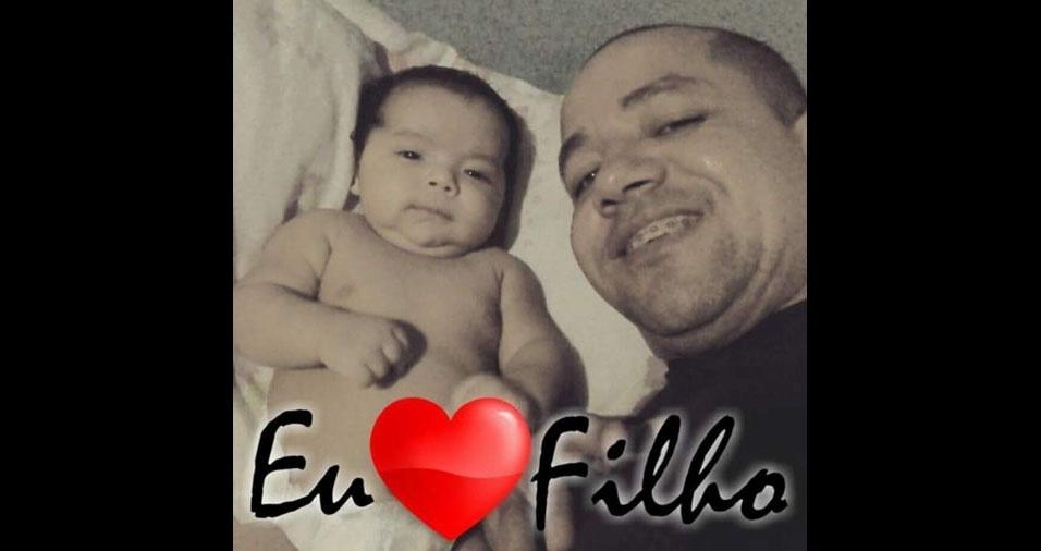 Papai Edvaldo com o filho Samuel