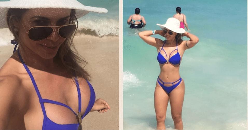 21.dez.2016 - Ex-BBB compartilhou selfie na praia Branca, na cidade colombiana de Cartagena das Índias