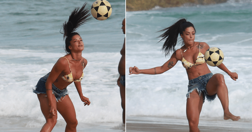 31.jan.2017 - Aline Riscado mostra controle de bola em brincadeira com amigos
