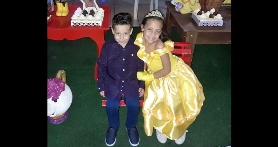 Luana da Silva, de Itaquaquecetuba (SP), enviou foto dos filhos Yan Cesar e Sabryna Victoria