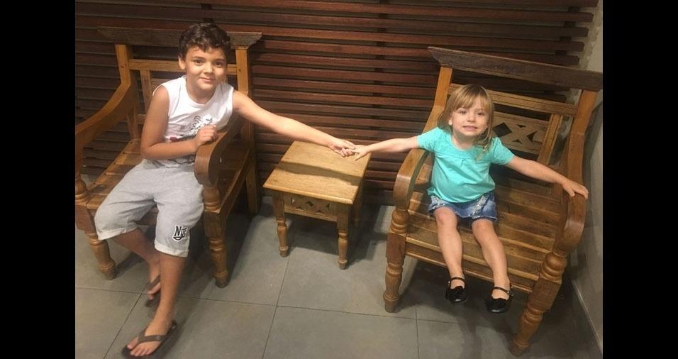 Wagner enviou foto dos filhos Yuri e Isabella