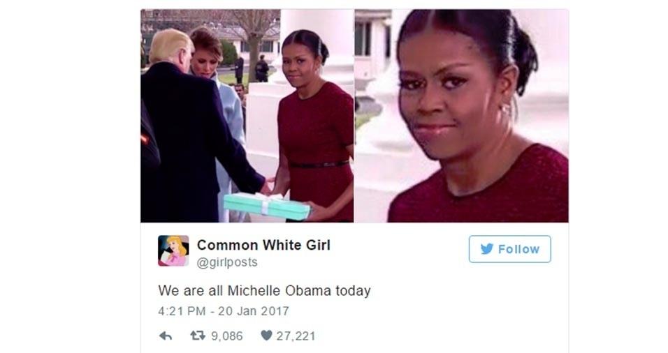 23.jan.2017 - Internautas brincam com o suposto desconforto de Michelle Obama ao receber um presente de Melania Trump