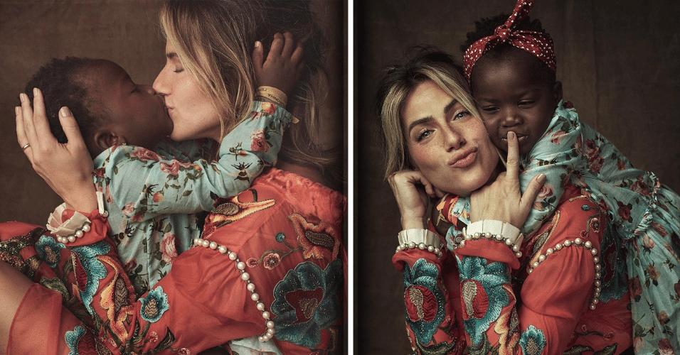 """5.mai.2017 - Bruno Gagliasso se declarou às mulheres de sua vida em uma publicação (à direita na montagem) no Instagram. """"Meus amores <3 Minha vida"""", escreveu o ator na rede social. Gagliasso compartilhou imagens de um ensaio sobre adoção da revista """"Marie Claire"""", clicada pelo fotógrafo Gustavo Zylbersztajn"""