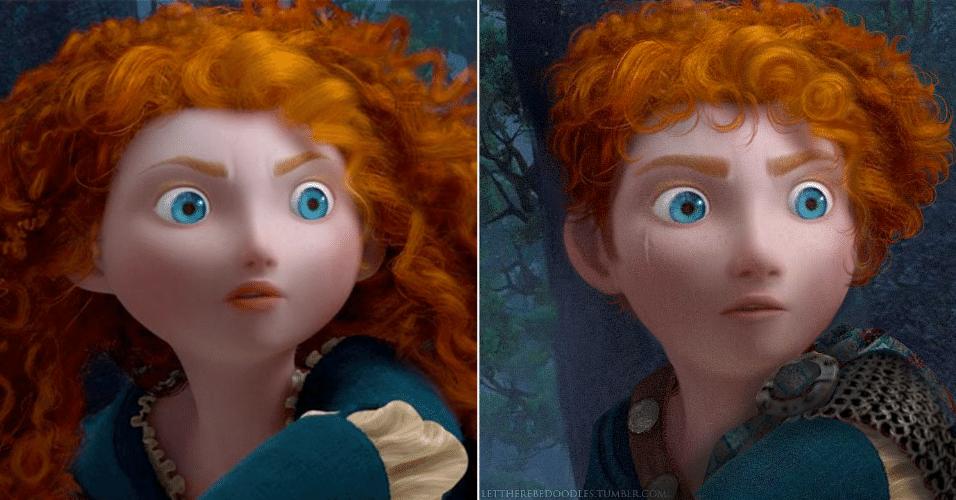 """6.jan.2016 - A princesa Merida de """"Valente"""" (2012) se transformou em um cavaleiro, mas manteve os cabelos encaracolados ruivos"""
