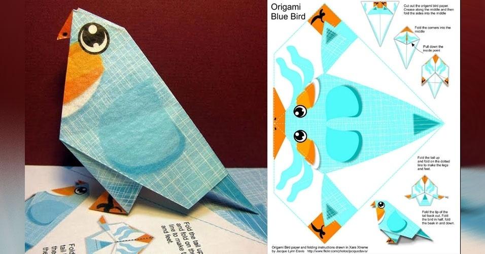 20. Pássaros azuis feitos de papel, com a técnica de origami