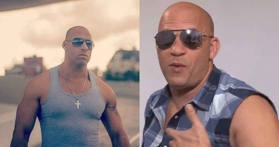 """19. Vin Diesel - Vin Diesel, o ator famoso por """"Velozes e Furiosos"""", ficaria impressionado com Marcos Salvo, pois o sósia de Curitiba (PR) é praticamente seu xerox. Marcos trabalha com participações a caráter em festas, feiras, eventos e programas de televisão"""