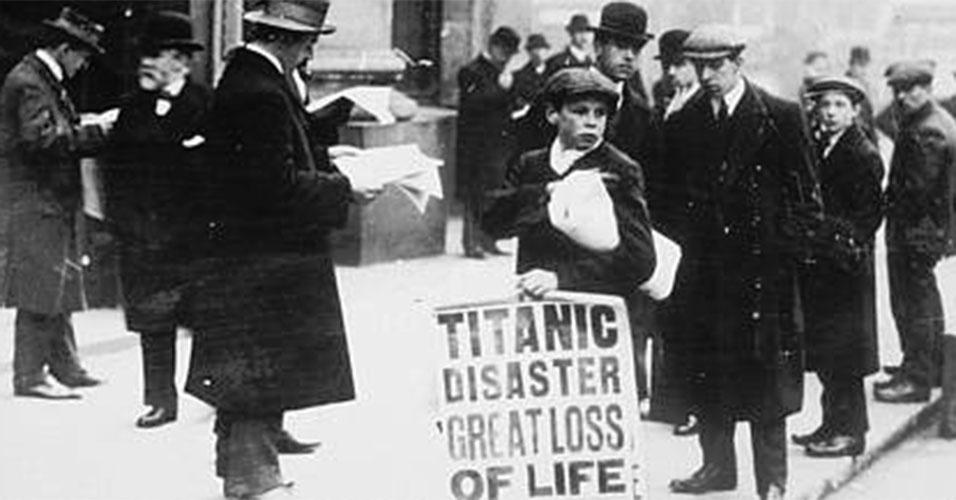Jornais dão grande destaque para a tragédia ocorrida com o Titanic, no Atlântico