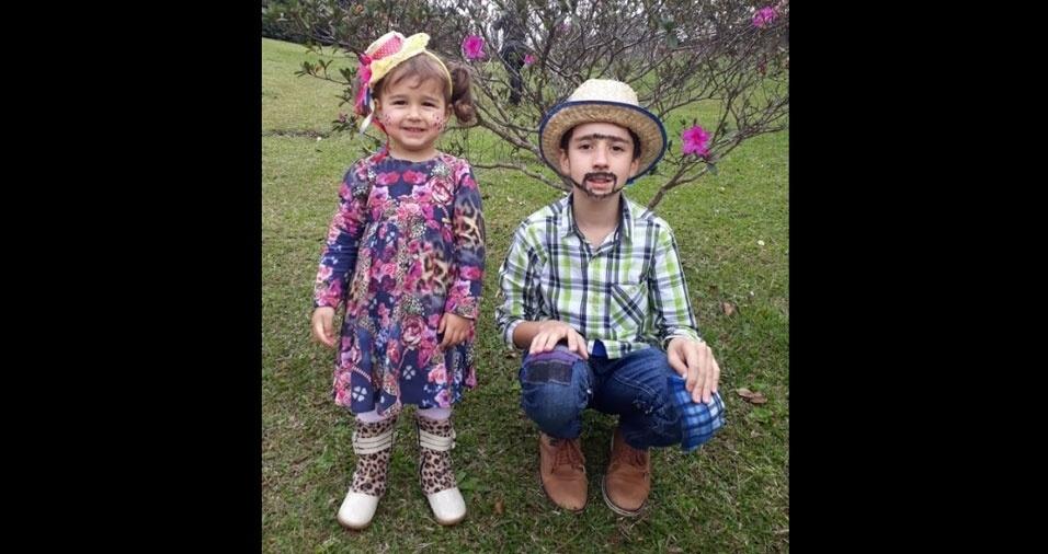 Gislaine Ferreira, de Curitiba (PR), enviou foto dos filhos Thalita (2) e Guilherme (10)