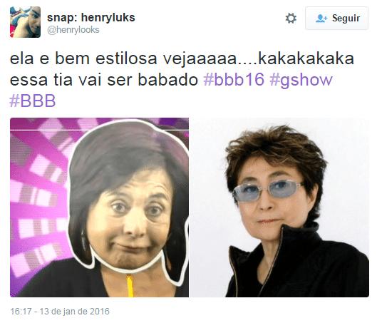 19.jan.2016 - ... mais um meme que faz referência à sister de 64 anos Harumi com Yoko Ono