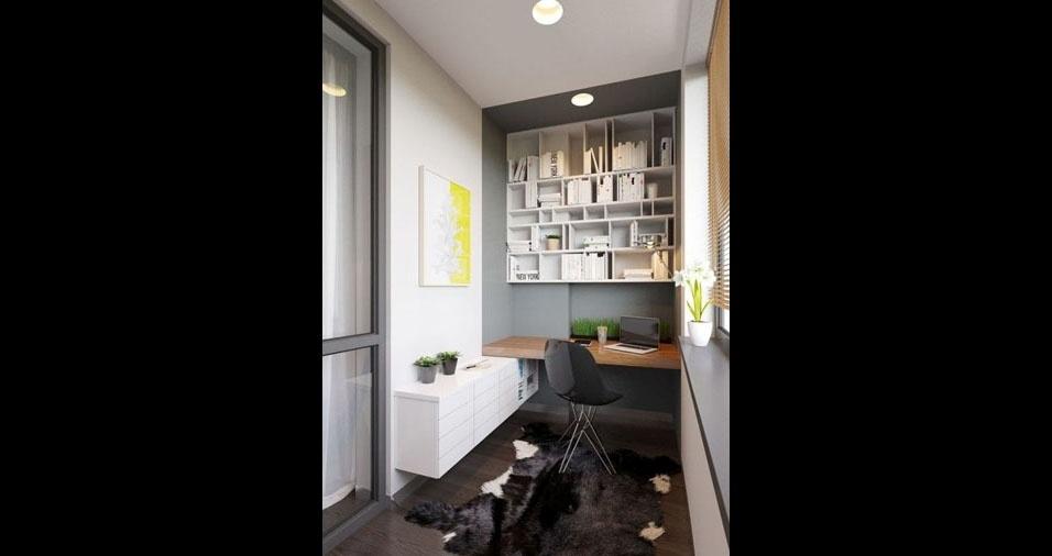 12. Quem tem mais espaço pode abusar dos móveis. Neste caso, o home office foi equipado por uma mesa, armário e um nicho para livros e papéis
