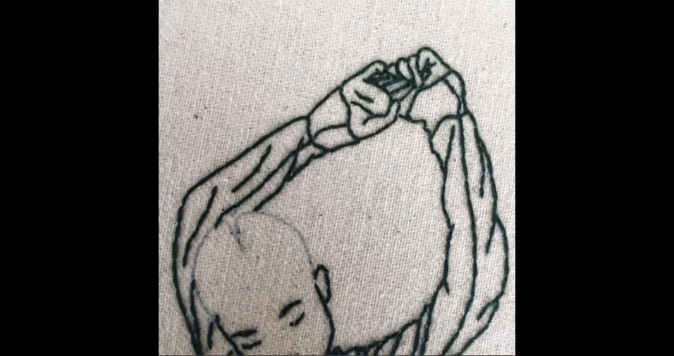 16. Detalhe de bordado da artista e modelo Sheena Liam