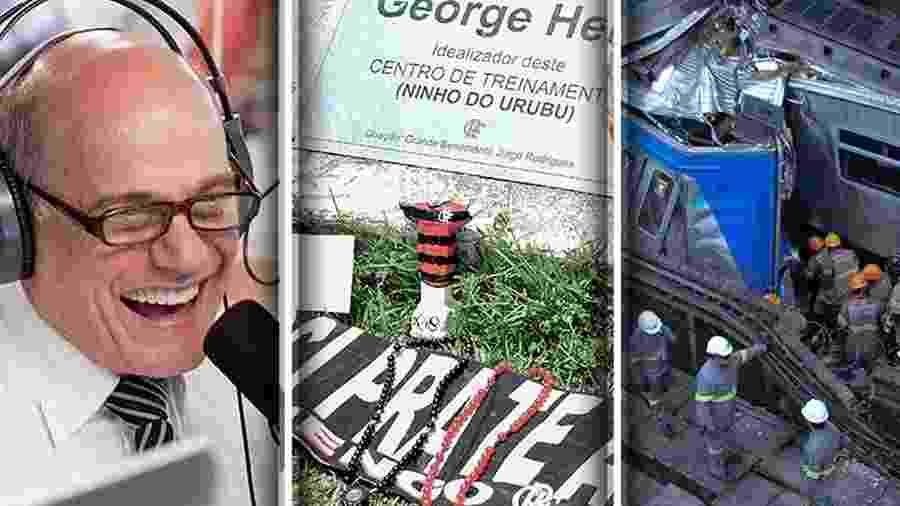 Mortes de famosos e tragédias no Rio marcaram o mês de fevereiro - Montagem BOL / Reprodução/Band / Thiago Ribeiro/AGIF / Dikran Junior/Estadão Conteúdo