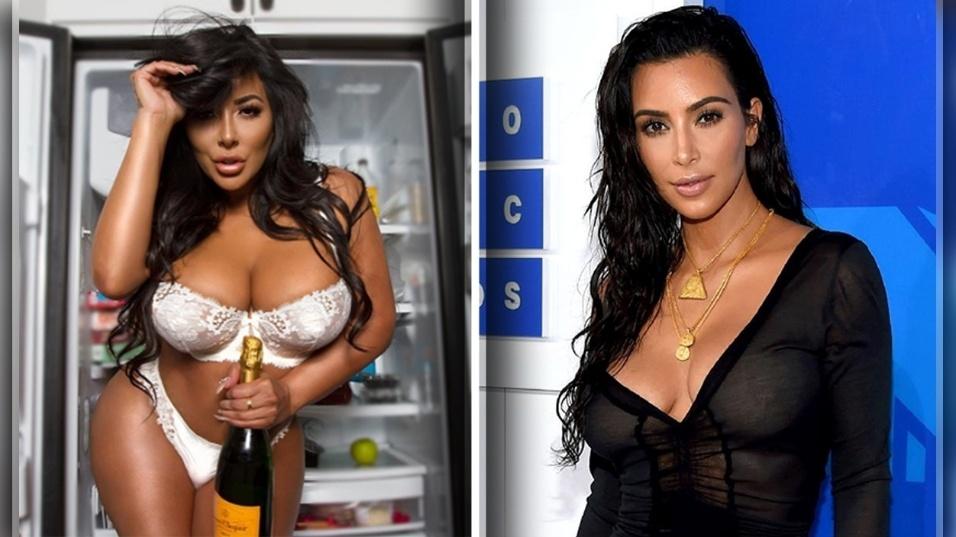 """18.ago.2017 - Não foi à toa que a atriz pornô Kiara Mia ficou conhecida como a """"Kim Kardashian dos filmes adultos"""". Comparando uma recente foto dela (à esquerda) com uma da socialite americana (direita), é difícil dizer quem é quem. Em comum com a socialite do clã Kardashian, Kiara tem a aparência, obviamente, mas também um bumbum avantajado e o estilo ostentador nas redes sociais (aliás, se lembrarmos que Kim Kardashian ganhou fama ao aparecer em uma """"sex tape"""", essa lista de semelhanças fica ainda maior). Confira a seguir mais fotos de Kiara, que teve uma carreira pouco convencional nos filmes adultos"""