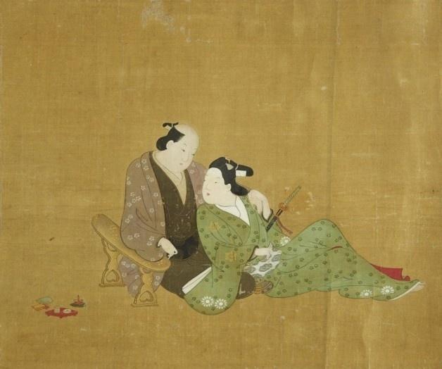 13.abr.2016 - Apesar de serem explícitas, as pinturas focam na parte carinhosa do sexo. Os casais normalmente são compostos por um homem mais velho e uma parceira mais jovem, com riqueza de detalhes em seus quimonos