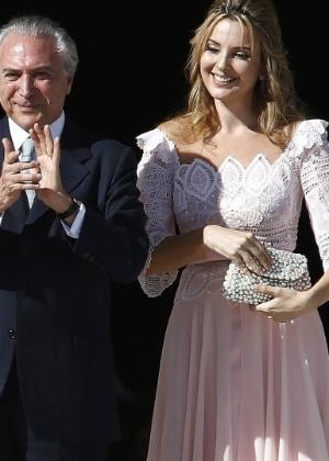 O presidente em exercício Michel Temer e sua mulher Marcela