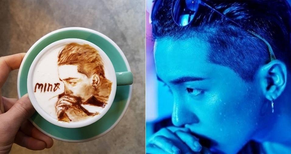 19. Sim, Lee fez a arte na xícara com base na foto à direita