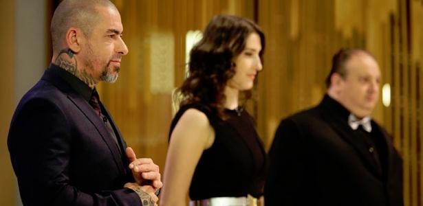 """Os jurados Fogaça, Paola e Jacquin, durante o """"MasterChef"""", reality da Band - Divulgação /Carol Gherardi/Band"""