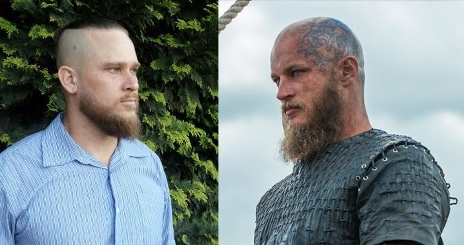 """Adriano Blaszkoski, de São Bento do Sul (SC), garante que é parecido com o ator Travis Fimmel, que interpreta Ragnar Lothbrok no seriado """"Vikings"""""""