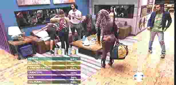 Juliana se despede dos colegas enquanto o público vê o resultado por região - Reprodução/TV Globo