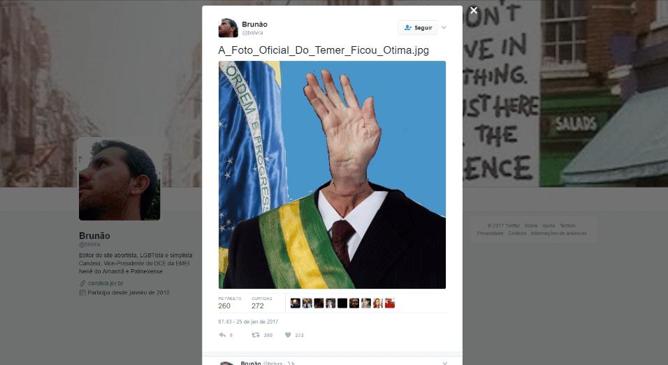 25.jan.2017 - Memes no Twitter sugeriram outras imagens para o lugar da foto oficial