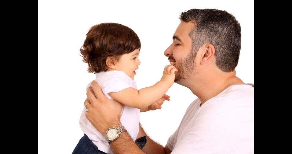 Papai Fabricio com o filho Enrico, de Ribeirão Preto (SP)