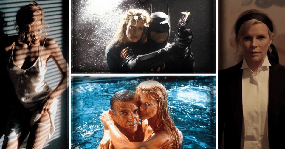"""8.dez.2016 - A atriz Kim Basinger completa 63 anos nesta quinta-feira. Modelo de sucesso na década de 1970, Kim se tornou símbolo sexual na década seguinte, estrelando filmes das séries """"007"""" (1983, imagem na parte inferior) e """"Batman"""" (1989, no topo), além do drama erótico """"Nove e Meia Semanas de Amor"""" (1986, esq.). Vencedora do Oscar de melhor atriz coadjuvante por sua atuação em """"Los Angeles - Cidade Proibida"""" (1997), Kim Basinger teve um conturbado casamento com o ator Alec Baldwin entre 1993 e 2002, com quem teve uma filha, a modelo Ireland Baldwin. Ainda na ativa, a atriz voltará às telonas em 2017 com o filme """"Cinquenta Tons Mais Escuros"""""""
