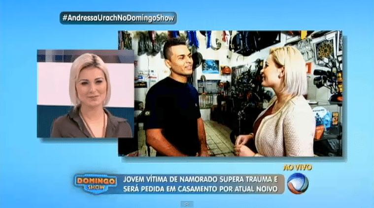 13.jul.2015 - Andressa Urach em estreia como repórter na Record