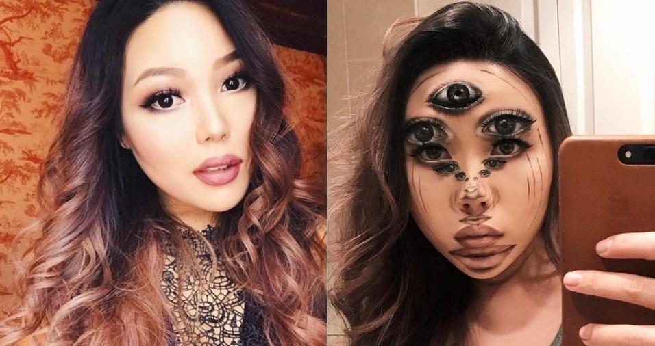 1. A canadense Mimi Choi é conhecida por sua habilidade em criar ilusões de ótica usando apenas maquiagem. Com mais de 195 mil seguidores no Instagram, ela faz questão de esclarecer em seus posts que não faz uso de Photoshop e, além de explicar os produtos usados em cada uma de suas criações, ela faz também vídeos para mostrar que se trata apenas de maquiagem, sem qualquer interferência de edição nas imagens